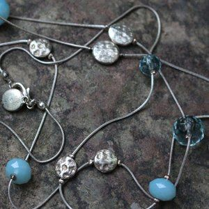 [5/$25]Long Simple Scatter Necklace Faceted Silver